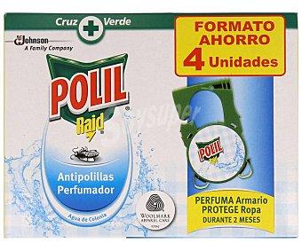 Polil Raid Antipolillas en colgador con aroma a colonia 4 uds