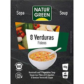 Naturgreen Bio sopa de 8 verduras y fideos ecologica sin lactosa 2 raciones Envase 40 g
