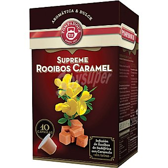 Pompadour Infusión de Rooibos de Sudáfrica con caramelo sin teína ápsulas estuche 20 g compatibles con máquinas de café Nespresso 10 c
