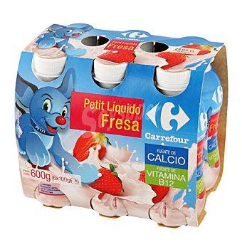 Carrefour Petit líquido de fresa con calcio 6 uds