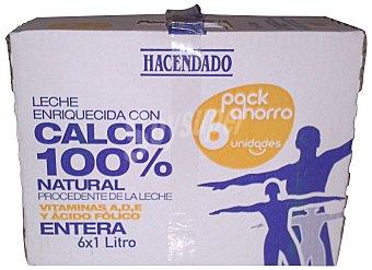 Hacendado Leche entera calcio Brick pack 6 x 1 l - 6 l