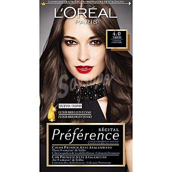 Preference L'Oréal Paris Tinte castaño nº 4.0 Tahití con elixir brillo intenso coloración permanente Caja 1 unidad