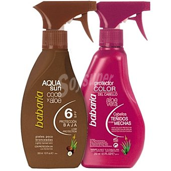 Babaria Bronceadora coco y aloe vera FP-6 Aqua spray 300 ml + protector color del cabello aloe vera espray 250 ml para cabellos teñidos Spray 300 ml