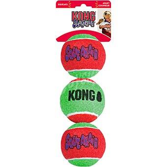 KONG Pelotas para perro verdes y rojas con sonido 3 unidades