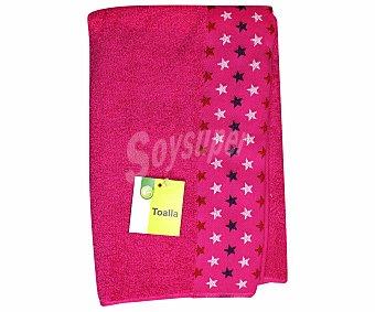 PRODUCTO ECONÓMICO ALCAMPO Toalla estampada jacquard de algodón, color rosa, 70x140 centímetros 1 Unidad