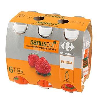 Carrefour Yogur líquido Sanuscol Fresa Pack de 6x100 g