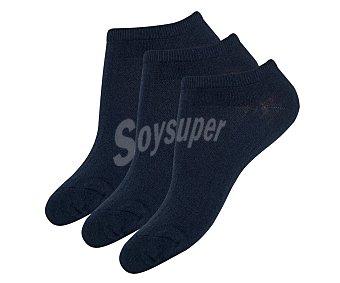 MIMI Footy Pack de 3 calcetines invisibles para mujer color marino, talla 39/42