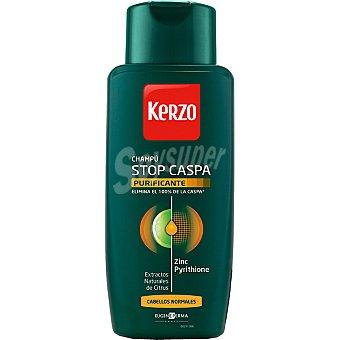 Kerzo Champú Stop Caspa Purificante con Zinc Pyrithione y extractos naturales de Citrus para cabellos normales Frasco 400 ml