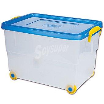 DENOX Caja multiusos transparente, tapa azul con ruedas y asas amarillas 60 l