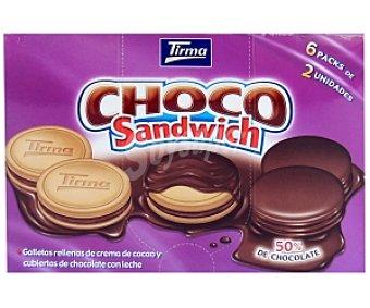 TIRMA Choco Sándwich-Galletas rellenas crema de cacao y cubierta de chocolate con leche 270g