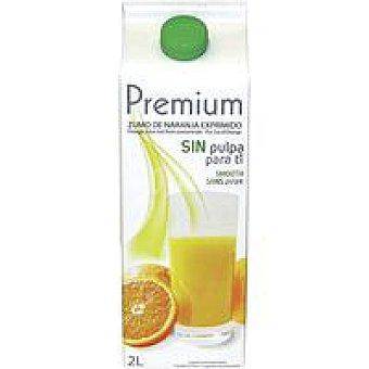 Premium Zumo de naranja refrigerado sin pulpa Brik 2 litros