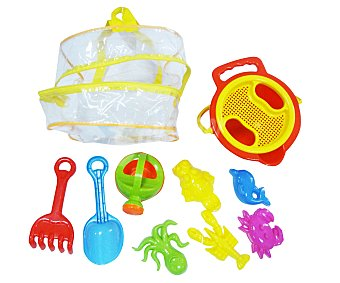 EURASPA Conjunto de 9 juguetes de playa con una mochila transparente para llevarlos y guardarlos 1 unidad