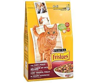 Purina Friskies Pienso completo para gatos adultos con buey, pollo y verduras Bolsa 4 kg