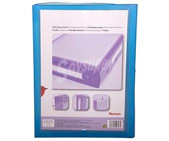 AUCHAN. (2,95€/UN Carpeta de proyectos de polipropileno de color azul, tamaño folio, con cierre de botón y lomo de 40 milímetros )