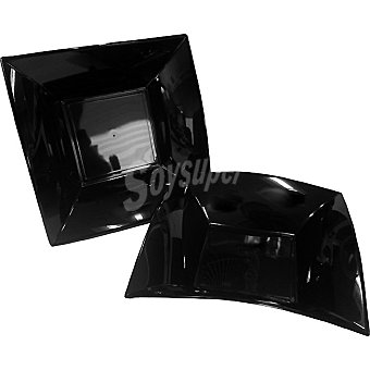 CASACTUAL Plato llano cuadrado negro 23 x 23 cm  6 unidades