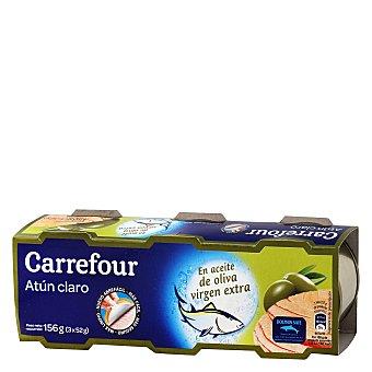 Carrefour Atún claro en aceite de oliva virgen extra Pack de 3x52 g