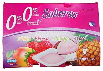 PRODUCTO RECOMENDADO Yogur desnatado sabores 4 fresa, 4 piña, 4 mango, 4 coco Pack 12 x 125 g - 1500 g