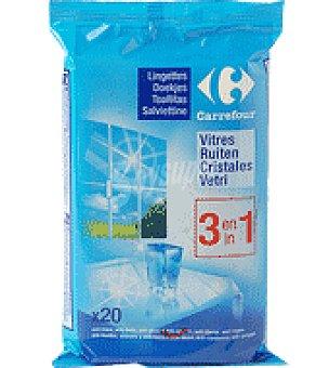 Carrefour Toallitas limpiacristales 3 en 1 Paquete con 20 un