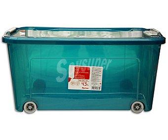 AUCHAN Caja con ruedas con tapa, capacidad de 43 litros fabricada en plástico azul, 59,3x38x29 centímetros 1 Unidad