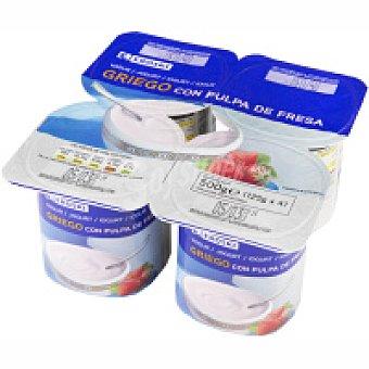 Eroski Yogur griego con fresa Pack 4x125 g