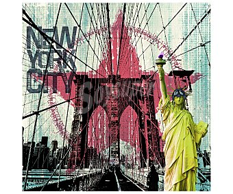 IMAGINE Cuadro con una imagen de monumentos típicos de la ciudad de Nueva York y dimensiones de 28x28 centímetros 1 unidad