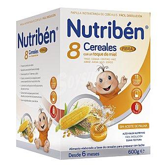 Nutribén Papilla en polvo con 8 cereales y un toque de miel y fibra, a partir de 6 meses Caja 600 g