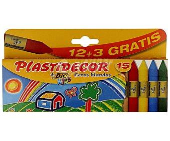 Plastidecor Bic Caja de 15 ceras blandas de diferentes colores e ideales para uso escolar kids