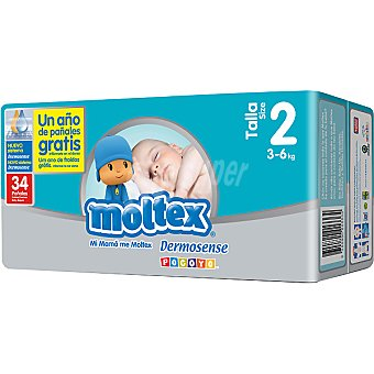 Moltex Pañales de 3 A 6 KG talla 2 caja 34 unidades