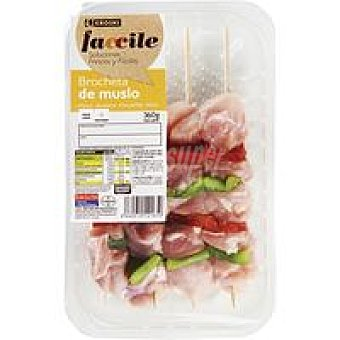 Eroski Faccile Brocheta de muslo de pollo Bandeja 360 g