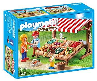 Playmobil Playset escenario de juego Mercado, incluye 3 figuras y accesorios, ref. 6121 Country 1 unidad