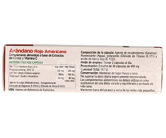 Vive+ Complemento alimenticio vive plus arándano rojo americano ápsulas 30 c