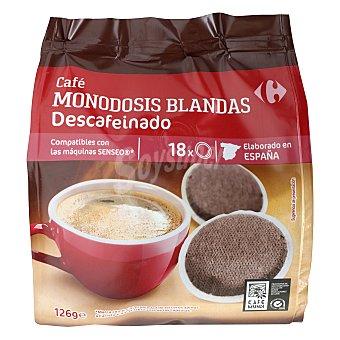 Carrefour Café monodosis descafeinado compatible con Senseo 18 ud