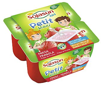 SOJASUN Petit infantil maxi sabor fresa  4 unidades de 90 g