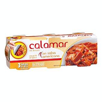 Hacendado Calamar en salsa americana trozos conserva (abre facil solapin) Lata pack 3 x 80 g - 240 g escurrido 180 g
