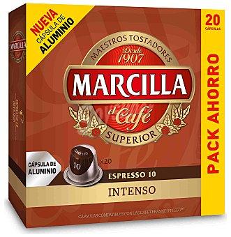 Marcilla Café fuerte intensidad 10 compatibles con cafeteras Nespresso Caja 20 capsulas (104 g)