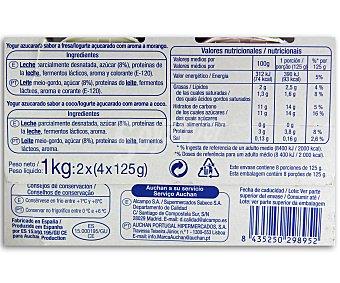 Auchan Yogures azucarados con sabor fresa (4u) y coco (4u) Pack de 8 unidades de 125 gramos
