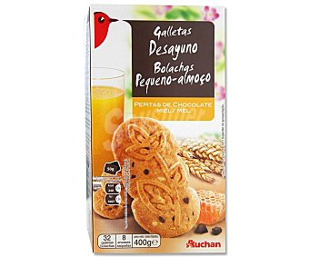 Auchan Galletas con cereales, pepitas de chocolate y miel 400 gramos