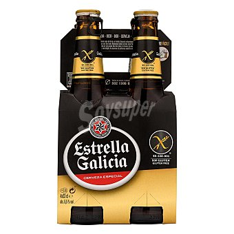 Estrella Galicia Cerveza rubia sin gluten Pack 4 x 33 cl