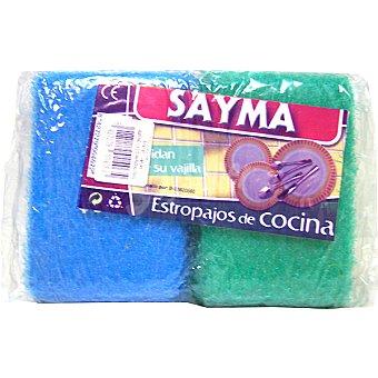 SAYMA Estropajo con esponja de cocina paquete 2 unidades Unidades