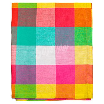 CASACTUAL Cuenca Mantel jacquard con dibujo de cuadros multicolores cuadrado 150 x 150 cm
