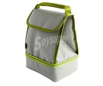 QUID Bolsa porta alimentos flexible con recubrimiento interior aislante y dos compartimentos, incluye 2 recipientes herméticos de 0,85 y 0,55 litros, 19x14x26 centímetros, modelo Go Lunch 1 unidad