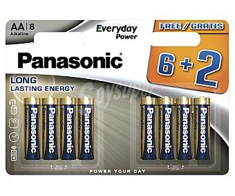 Panasonic Paquete de 8 pilas alcalinas del tipo AA o LR06 panasonic