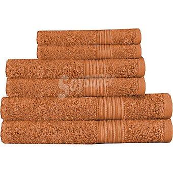 CASACTUAL juego de 6 toallas lisas en color naranja