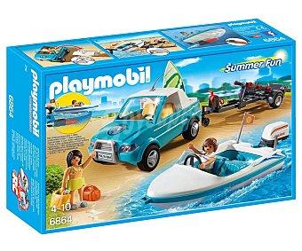 Playmobil Escenario de juego Pick up con lancha y accesorios, Summer Fun 6864, playmobil