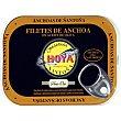 Filetes de anchoa del Cantábrico en aceite de oliva elaboración artesana Lata 50 g neto escurrido Hoya serie oro