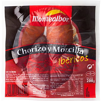 Montealbor Chorizo-morcilla Bandeja 200 g