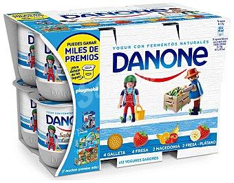 Danone Yogur sabores fresa, macedonia, galleta y plátano Pack 12 x 125 g