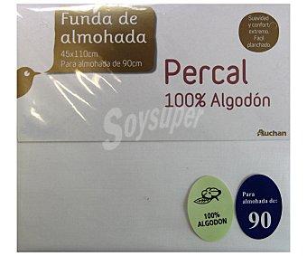 Auchan Funda de almohada de percal color blanco, 90/105 centímetros 1 Unidad