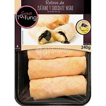 TA-TUNG Rollitos dulces de plátano y chocolate negro bandeja de 120 g