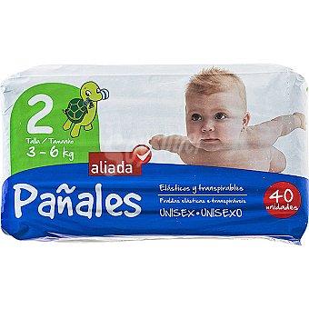 Aliada Pañales unisex de 3 a 6 kg talla 2 elásticos y transpirables Bolsa 40 unidades
